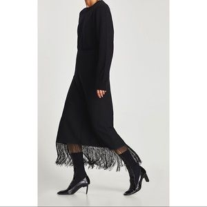 NWT Zara small black fringe midi skirt knit
